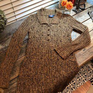 Next Era long cardigan open weave brown mustard